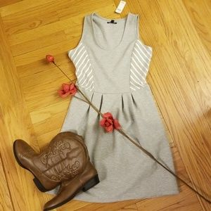 GAP gray comfy dress with white accent stripes